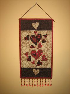 Valentine Red and Brown Hearts Fabric Wall Hanging by TahoeQuilts
