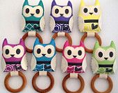 Owl baby rattle with teething ring (removable) - babies - pink, blue, green, yellow, lilac, purple - koo-ki-nuts