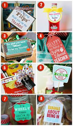 Over 100 Teacher Gift Ideas! Most come with free printable gift tags too! Back to school teacher gifts, end of year teacher gift ideas and creative anytime teacher gifts. with all these teacher gift ideas we've got you covered! Back To School Teacher, Back To School Gifts, Staff Gifts, Student Gifts, Teacher Thank You, Thank You Gifts, Teacher Treats, Daycare Teacher Gifts, Free Printable Gift Tags