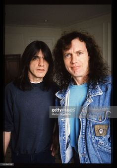 Portrait of brothers Angus and Malcolm Young from Australian rock band AC/DC, Germany, 1992.