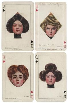 Set of Four Queens Playing Card Postcards. New York: Moffat, Yard & Co., Each of the ladies hair is cut in the shape of a suit symbol. Abstract Illustration, Vintage Illustration Art, Art Graphique, Aesthetic Art, Queen Aesthetic, Aesthetic Vintage, Grafik Design, Illustrations, Art Inspo