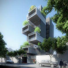 O projeto propõe uma exploração das potencialidades do código de zoneamento para gerar diferentes condições de espaço interior e exterior em um edifício residencial.