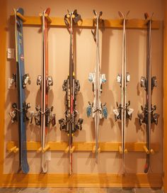 Ski storage in mudroom