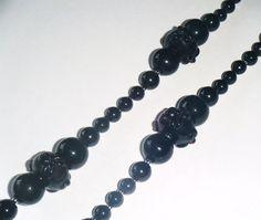 "Black bead necklace, opaque jet black glass beads 38.1/2"" long (100cm)"
