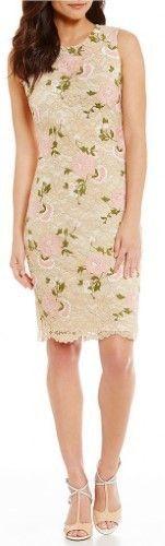 Calvin Klein Sleeveless Embroidered Lace Sheath Dress Beige Rose 2