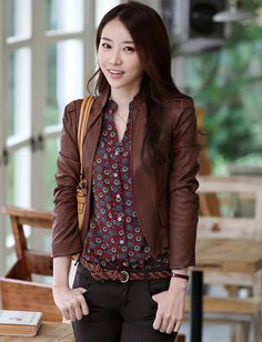 Suave Pure Color Conceal Buckle Cropped Leather Jacket For Women
