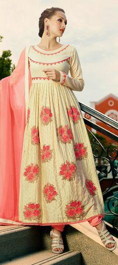 417273: Soft and subtle. Explore this #Anarkali! #partywear #floral #pastel #patchwork