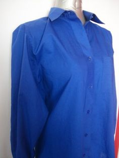 Bright Blue Classic Long Sleeve Button Down Shirt - Foxcroft - Wrinkle Free Fabric - FREE Shipping.
