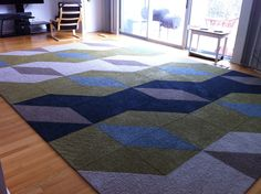 Flor Carpet Tiles in a large scale print for a modern home. Designed at FLOR-Dallas.