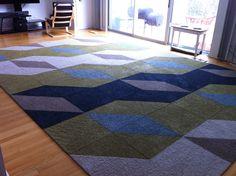 Flor Carpet Tiles in a large scale print for a modern home. Designed at FLOR-Dallas.