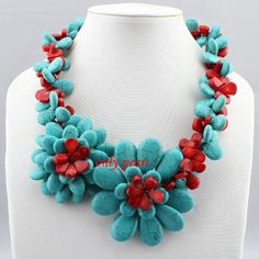 Free Shipping Turquoise Necklace and Coral Necklace by OnlyPearl