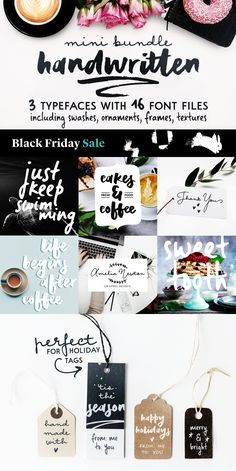 Extra 30% off for this week! Offer ends November 30th. This mini font collection includes three cute handwritten typefaces. #font #fontbundle #handwrittenfont