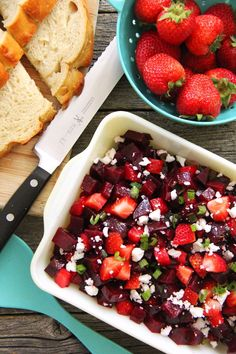 This Strawberry Beet Salad is a fresh and delicious summer salad! Roasted beets and fresh strawberries are a match made in heaven!