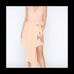 Uneven Hem Wrap Dress In Blush No Trades