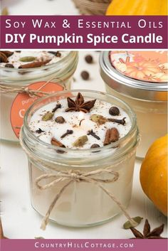 DIY Pumpkin Spice Candles – Fall Candles Recipe with Essentials OilsEnjoy fall scents! Learn how to make DIY pumpkin spices candles with soy wax and essential oils! This creative easy homemade fall scented candle recipe Fall Candles, Home Candles, Holiday Candles, Pumpkin Spice Candle, Diy Pumpkin, Pumpkin Candles, Expensive Candles, Homemade Candles, How To Make Scented Candles At Home