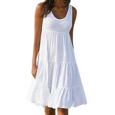 a86e357c2e9 OldSch001® Dress for Women Women Pencil Sleeveless Cotton Beach Dress White  M   Read more