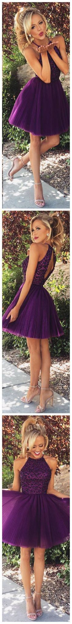 Purple High Neck open back homecoming dress,short prom dress