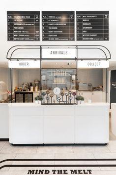 Milk Train Arrives in London's Covent Garden in Art Deco Playfulness Granola ice t granola bar commercial Cafe Interior Design, Cafe Design, Home Interior, Store Design, Design Shop, Bakery Shop Interior, Bakery Shop Design, Interior Sketch, Interior Plants