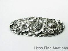 Genuine Art Deco S. Kirk & Son Sterling Silver 12F Floral Repousse Pin Brooch #SKirkSon