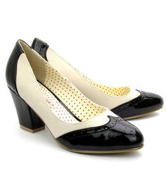 1950s Shoes: New 1950s Style Shoes for Sale: Black & White Closed Toe Hansel Spectator Pumps $50.00 #shoes #1950sfashion
