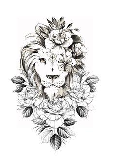 Mommy Tattoos, Head Tattoos, Side Tattoos, Virgo Tattoos, Atrapasueños Tattoo, Skull Girl Tattoo, Lion Tattoo Sleeves, Sleeve Tattoos, Lion Thigh Tattoo