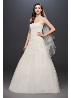 Searching for discount wedding dresses? Browse David's Bridal wedding dresses for sale, including discount plus size & designer wedding dresses online now! Pinina Tornai Wedding Dresses, Strapless Lace Wedding Dress, Lace Mermaid Wedding Dress, Davids Bridal Dresses, Tulle Wedding, Bridal Wedding Dresses, Wedding Dress Styles, Designer Wedding Dresses, Wedding Gowns Online