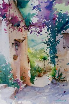 Watercolor by Blanca Alvarez Watercolor Trees, Watercolor Artwork, Watercolor Artists, Watercolor Landscape, Watercolor And Ink, Landscape Art, Landscape Paintings, Watercolor Portraits, Abstract Paintings