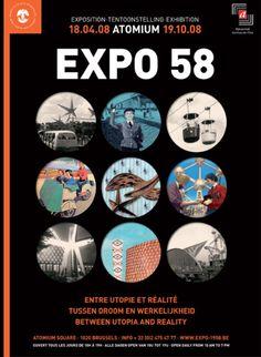 Een affiche van de wereldtentoonstelling in Brussel. Atomium