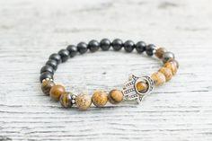 Tiger eye, jasper stone and black onyx beaded stretchy silver Hamsa hand bracelet, custom made yoga bracelet, mens bracelet, womens #bracelet