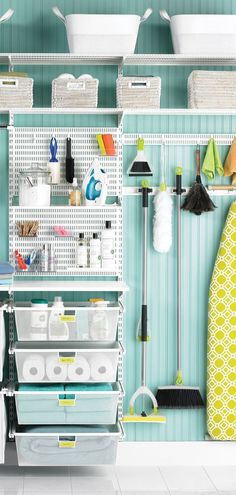 cleaning supplies Get ready to love your laundry! Create a custom shelving solution to hold detergents, cleaning supplies, linens, and hanging clothes. Cleaning Supply Storage, Cleaning Closet, Organizing Cleaning Supplies, Bedroom Cleaning, Kitchen Cleaning, Cleaning Hacks, Laundry Room Organization, Laundry Room Design, Organization Ideas
