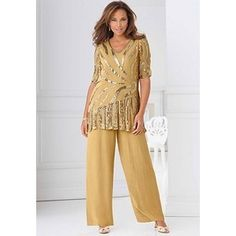 Womens Plus Size Formal Pant Suits Beaded Bronze Special Occasion Suit At