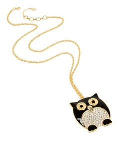 Another great find on #zulily! Black Crystal Owl Pendant Necklace by Amrita Singh #zulilyfinds