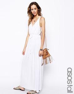 Vestido largo con diseño cruzado estilo griego de ASOS TALL