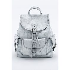 Premium Cracked Leather Pocket Backpack (£129) ❤ liked on Polyvore featuring bags, backpacks, white, bohemian backpack, white backpack, boho backpack, pocket bag e pocket backpack