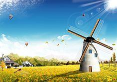 flowers windmill, Flowers, Meadow, Windmill, Background image