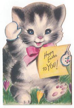 Vintage Greeting Card Easter Cute Die-Cut Bi-Fold Cat Kitten Rust Craft 1940s