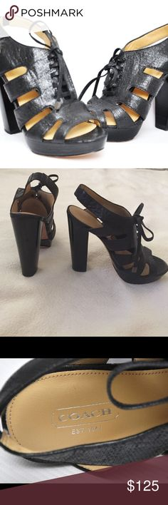 """COACH Maureen Lace Up Platform Heels COACH Maureen BLACK Lace Up Platform Heels size 7! BNWOT! 5"""" Heel with 1"""" Platform. Very sexy! Leather Cushioned and comfortable! Coach Shoes Platforms"""