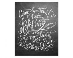 lindsay-letters-come-thou-fount-canvas-blackboard_1024x1024_d36bb2e9-4658-43a6-b36b-1f19c70a56ff_1024x1024 Words Quotes, Wise Words, Art Quotes, Come Thou Fount, Lindsay Letters, Holiday Canvas, Chalkboard Art, Word Art, Have Time