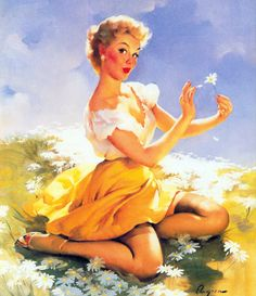 Elvgren - lovely pin up lady picking the daises