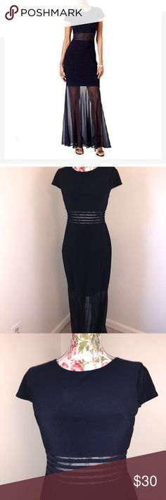 """Night way blue illusion mermaid maxi dress size 8 Blue illusion maxi mermaid dress in size 8.  Worn once for a few hours  Perfect for any upcoming evening occasion.  Mannequin Measurements:  Shoulders: 15""""  Chest: 34""""  Waist: 26.7""""  Hip: 35.4"""" Nightway Dresses Maxi"""