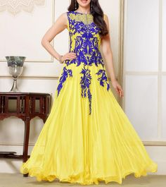 Yellow & Blue Embroidered Georgette Semi Stitched Anarkali Suit