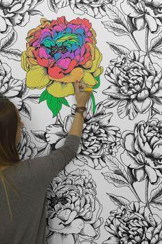 HB Loves... Colour-in wallpaper from Murals Wallpaper