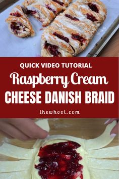 This Rasberry Cream Cheese Danish Braid has been hugely popular and you can even turn it into a candy cane for the holidays. Puff Pastry Recipes, Cream Cheese Recipes, Xmas Food, Christmas Cooking, Cheese Danish Braid Recipe, Breakfast Recipes, Dessert Recipes, Breakfast Ideas, Cream Cheese Danish