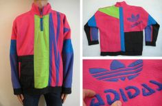 80s ADIDAS SKI FLEECE neon North 1 Degree nu rave snowboard jacket Sz. Large/Xl