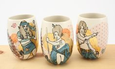 """PURCHASE PRIZE WINNER! Valerie Zimany. Sukeban (Delinquent Girl) Cups, 2015, Porcelain with original silkscreened and vintage overglaze decals, gold, 4.5"""" x 3"""" x 3"""" each. $90/ each SOLD OUT"""