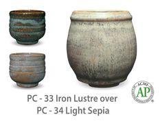 AMACO Potter's Choice layered glazes PC-34 Light Sepia and PC-33 Iron Lustre.