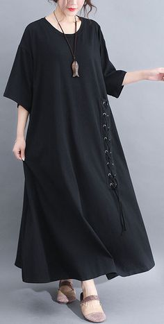 DIY black half sleeve cotton quilting dresses big hem summer Dresses Materials used: cotton Measurement:One size fits all for this item. Big Size Dress, Plus Size Dresses, Big Dresses, Linen Dresses, Cotton Dresses, Big Size Fashion, Estilo Hippie, Casual Summer Dresses, Fashion Dresses