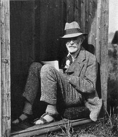 """""""I never knew Edward Carpenter lived in Guildford just above the station…but here he is in his writing 'hut' in the 1920s.    You'd not know that now, and with Guildford not even having a gay bar nowadays his history is pretty much hidden. He died there in 1929.    And sweetly and amazingly not only is his lover George Merill buried with him, the gravestone mentions their 40 years together, how radical is that for 1929?!?"""""""