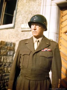 Gen George Patton in a rather rare occasion of wearing his battle (English style) jacket and no pistol belt. As a general officer, Patton had the liberty to design his own uniforms. He became famous for his stylistic choices. -