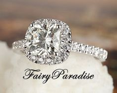 1 carat Halo Cushion Cut Engagement Ring Man Made by FairyParadise